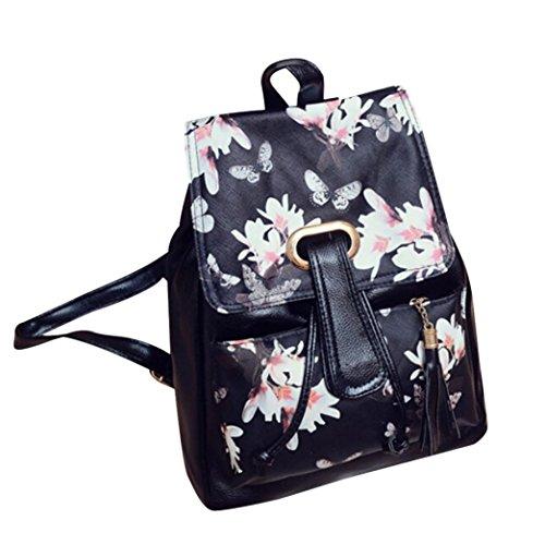 Koly_Ragazze in pelle sacchetto di scuola di viaggio backpack la cartella stampa Zaino (B)