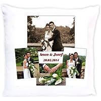 bedruckte Fotokissen Hochzeit - Motiv Fotocollage mit Wunschnamen und Datum