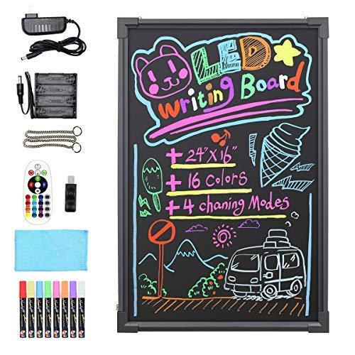 """Hosim 24"""" x 16"""" Intermitente señal luminosa borrable neón LED Mensaje del tablero Letrero con 8 colores. Marcadores, 7 colores. Intermitente. Modo de tablero de bricolaje para la cocina."""