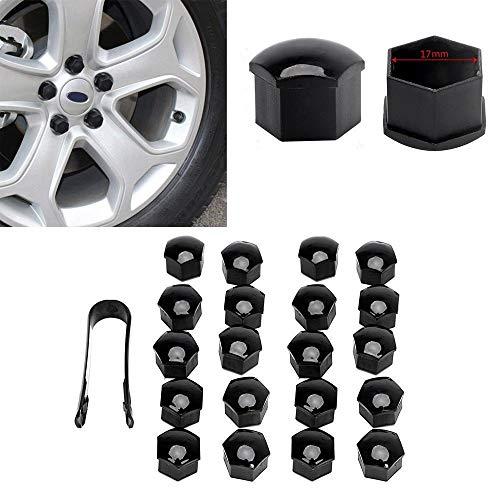 Preisvergleich Produktbild BAAQII 20 stücke 17mm Radmutternschraube Zentrum Abdeckung Schwarze Kappen Werkzeug für VW Audi Skoda