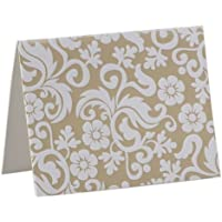 Pearl Ivory/White Flock Notecards (Pack of 10 Cards + Matching Envelopes) - Wedding Stationery