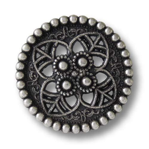 Knopfparadies (5915as 6er Set ausgefallen schöne Metallknöpfe in Altsilber (Vintage) mit Durchbruchmuster: keltische Blüte. Perfekt für historische Kostüme und Gewandungen. Durchmesser: ca. 23mm!
