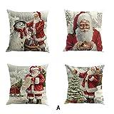 Auied 4 x Weihnachtliches Baumwollleinen Sofa Auto Home Taille Kissen Überwurf Kissenbezug, Baumwolle, a, 45 * 45cm