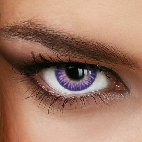 Farbige Jahres-Kontaktlinsen Rainbow Süß VIOLET - OHNE Stärke - SWEET VIOLET - von LUXDELUX - (+/- 0.00 DPT)
