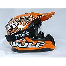 Caschi Bambino: WULF FLITE-XTRA Casco Bambini Moto, MX Casco Quad ATV PITBIKE Scooter off-road Casco Cross, Arancia + Occhiali (XL) - Off Road Mx Atv Casco