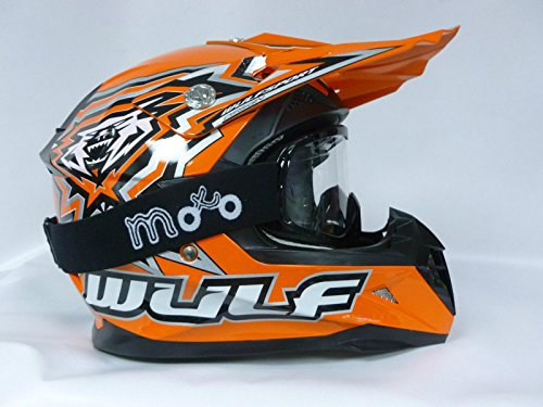 Casco Moto Bambino Wulf FLITE-Xtra Casco Motocross MX Bambini Enduro Quad ATV Pit Bike Scooter off-Road Casco Cross, Arancia + Occhiali (M)