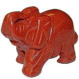 Jaspis Rot Elefant ca. 30 x43 mm aus echtem Edelstein mit Rüssel nach oben Glücksbringer.(3165)
