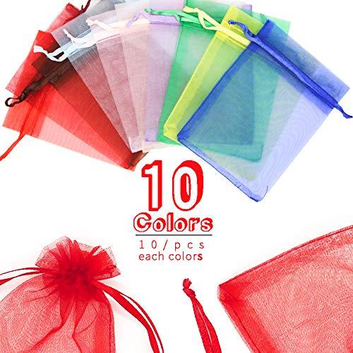 Veramz Sacchetti Organza Portaconfetti, Sacchetti Regalo, 100 Pezzi 10 Colori Bustine Bomboniere Confetti per Matrimonio Battesimo Compleanno Natale Regalo Caramella Gioielli