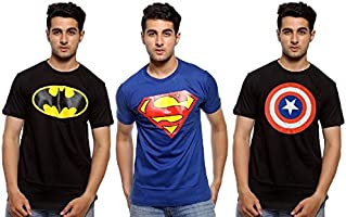 Senseless Blue and Black Color Casual Wear Cotton Half Sleeve Tshirt for Men Combo Pack of 3 (Large)