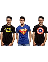 Senseless Blue And Black Color Casual Wear Cotton Half Sleeve Tshirt For Men Combo Pack Of 3