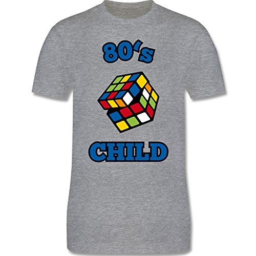 Shirtracer Statement Shirts - 80's Child - Zauberwürfel - Herren T-Shirt Rundhals Grau Meliert