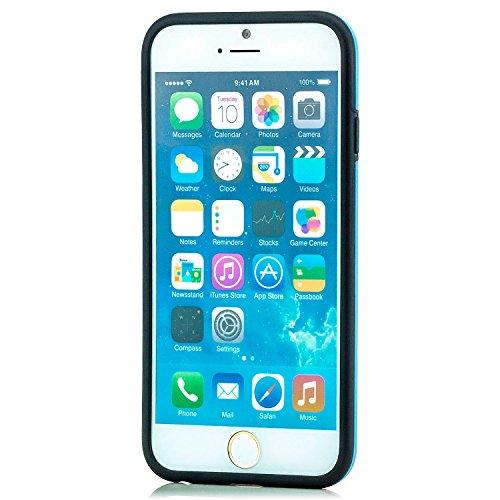 Saxonia Schutzhülle Apple iPhone 6 Plus / 6S Plus Hülle Case Silikon Cover Diamond Design Silikonhülle Gelb Schwarz-Blau