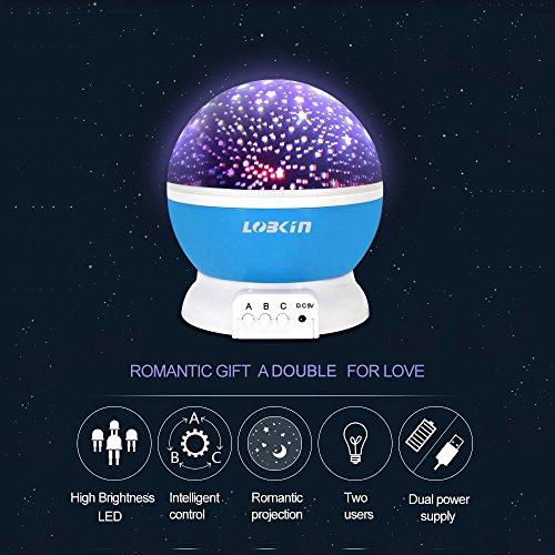 Ecandy 360° drehbarer 3 Modus Lichtprojektor, Romantisches Kosmos Sternhimmel für Schlafzimmer, Nachtlicht für Kinder, Babys, Weihnachtsgeschenk, Liebhaber, USB/Battierie betrieben.(blau) - 3