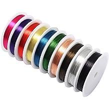 hysagtek 10pcs joyas Beading alambre de cobre desnudo Cable de hilo de rollos de alambre para manualidades para hacer bisutería suministros y joyas reparación, 10colores, 0,4mm/26calibre