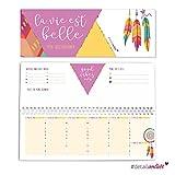 Tischkalender Boho Style | dv_227 | querformat | Kalender ohne festes Datum | Wochenkalender Quer-Format Wochen-Planer Terminkalender Schulkalender