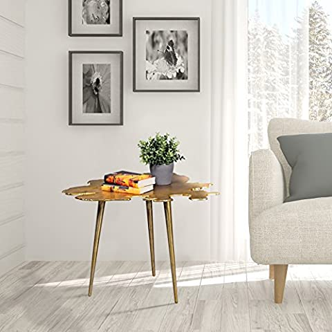 FineBuy Side table metal in gold Contemporary living room table in sheet form | Design Coffee table / Lounge table aus Aluminum | Triple living room furniture with metal frame in oriental