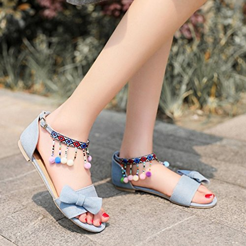 TAOFFEN damen Gemutlich Open Toe Sommer Flach Fesselriemen Schnalle Sandalen mit Bogen Hell Blau