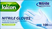 FALCON NITRILE GLOVES - MADE IN MALAYSIA - HIGH QUALITY - PRE-POWDERED – BLUE - LARGE SIZE – 100/PACK BY NICE.
