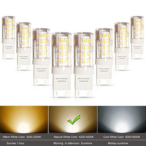 lampaous G9LED Leuchtmittel, 40W Halogen G9Leuchtmittel Ersatz, mit super bright Day Weiß LED 400LM 5W, 360Grad Abstrahlwinkel, AC 220–240V, Energiesparlampe, nicht dimmbar, CRI > 85, 8Stück