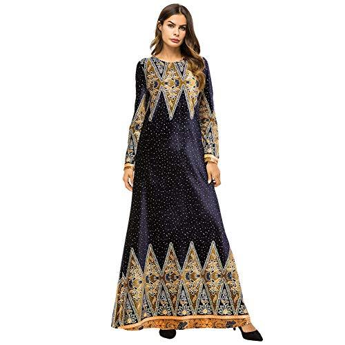 Meijunter Muslimische Kleider für Damen - Samt Langarm Abaya Ethnischer Druck Indische Robe Arabisch Islamisch Kleid Dubai Kaftan Blau XXL -