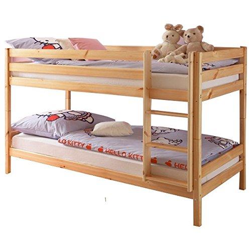 Etagenbett Kiefer massiv natur lackiert EN 747-1 + 747-2 teilbar zu 2 Einzelbetten Stockbett Doppelbett Kinderzimmer Hochbett Kinderbett -