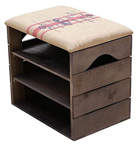 LIZA Shoes Bench (TAUPE) - Premium Vintage Wooden Shoe Rack Organiser, Storage, Cabinet, Holder Bench with Soft Seat Cushion for Entryway, Hallway. Solid Nordic Wood (Red