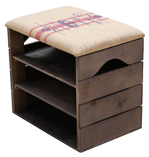 Scarpiera (taupe) - ottima, organizer per scarpe in legno vintage, deposito, armadietto, panca di sostegno, con seduta morbida, adatta per l'ingresso e il corridoio. legno nordico solido - liza - 51 x 45 x 36 cm (rosso rigato)