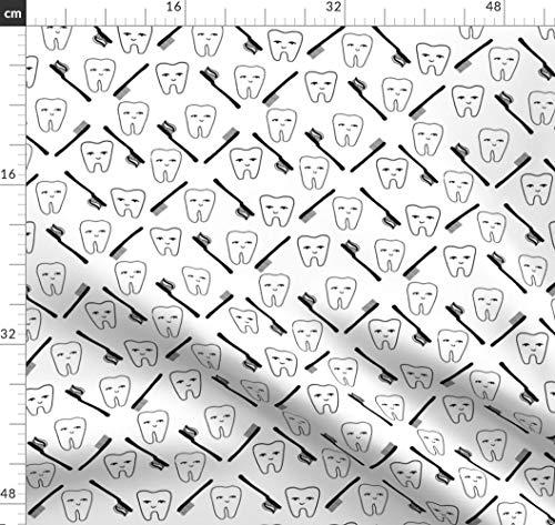 Zahn, Zähne, Zahnbürste, Zahnarzt, Schwarz Und Weiß Stoffe - Individuell Bedruckt von Spoonflower - Design von Andrea Lauren Gedruckt auf Minky
