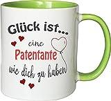 WarmherzIch Becher Tasse Glück ist… Patentante Kaffee Kaffeetasse liebevoll Bedruckt BFF Beste Freundin Schwester Weiß-Grün