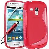 Supergets Wave Hydro Gel Schutzhülle für Samsung Galaxy S3 mini I8190 mit Display Schutz, Reinigungstuch und Mini Stylus rot rot