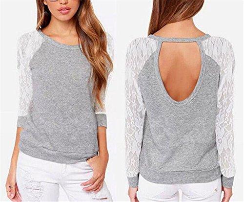 SHUNLIU Damen Girl Frühling Top Weich T-Shirt Spitzehohl Lange Ärmel Mode Grau