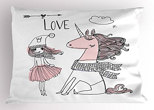 Doodle Pillow Sham, Hand Drawn Unicorn and Girl with Scarf Winter Season Arrangement, Decorative Standard King Size Printed Pillowcase, 20X30 Inches, Pale Pink Black and White