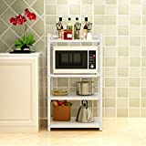 LIAN Küchenboden Regal Stahl Holz Mikrowelle Rack Multi-Layer-Ofen Rack Lagerregal Real Küche Guter Helfer 3 Schichten / 4 Schichten (Farbe : B)