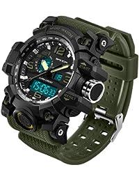 Sanda Men's Military Sport Watch Men Electronic LED Digital Wrist Watch Male Relogio Masculino 742 - Green