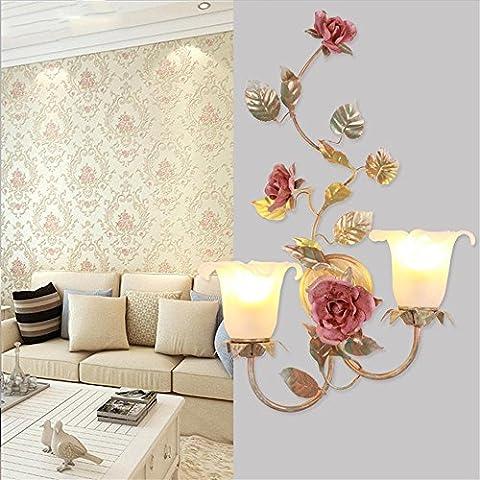 TOYM- Coreano pastorale Specchio Headlights europea - Stile fiori e alberi Lampada da comodino specchio del bagno Fari creativo Aisle Lampade