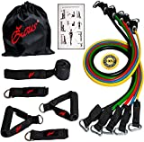 Zeus Gym Exercise Resistance Bands Set Kit for Woman & Men - Home Gym Exercise Training Different Tension Levels 5 Tube Set with Handles, Door Anchor, Ankle Straps and Carry Bag , Ideal for Home Fitness / Travel Fitness / Strength