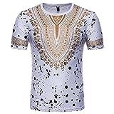 T-Shirt Africain, Malloom Chemise à Manches Courtes à Manches Courtes pour Hommes (2XL, Blanc(G))...