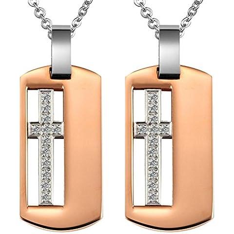 Daesar 2Pcs Conjuntos de Joyería Colgante Collar Acero Mujer, Blanca Circonita Cruz Crucifijo Colgante Ejército Militar Doble Dog Tag Placa