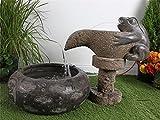 Brunnen Springbrunnen Gartenbrunnen Vogeltränke Zierbrunnen Frosch Naturstein S83