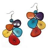 Idin Boucles d'oreilles–Fait main Multicolore Tagua Puce avec Acai Graines de boucles d'oreilles goutte (environ 9.5cm)