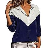 IMJONO Bluse Damen elegant Frauen Spitze Mode Vintage,Beiläufige Lange Hülsen-Farbblockstreifen der Frauen Button-down-T-Shirts Blusen-Oberseiten(Medium,Marine)