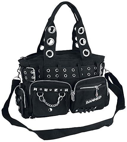 Sac A Main Rock - Handtas met studs en oogjes zwart, Noir