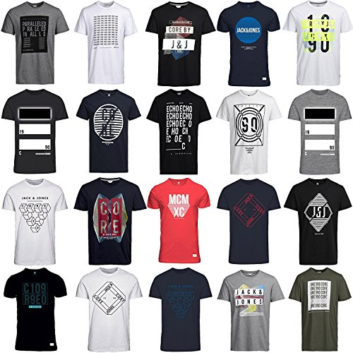 JACK & JONES JACK & JONES T Shirt Herren 3er 6er 9er Mix Rundhals Tee Regular fit Baumwolle S M L XL (S, 3er Mix Pack)