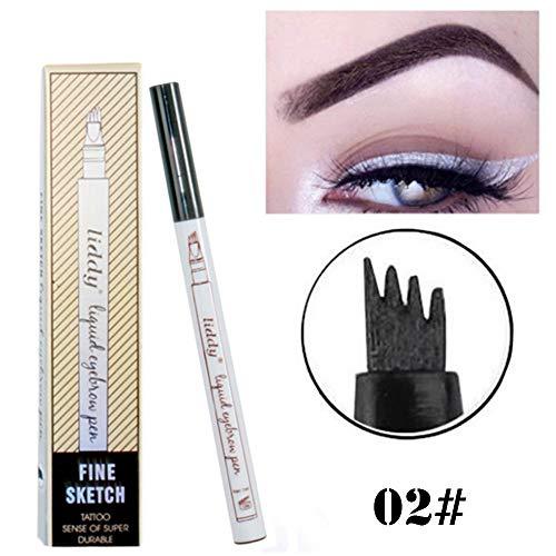 Cooljun 3D Tatouage Crayon à Sourcils avec 4 conseils Imperméable à l'eau & Longue Durée Crayon d'encre Croquis de Stylo de Sourcil pour le Maquillage Naturel (B)
