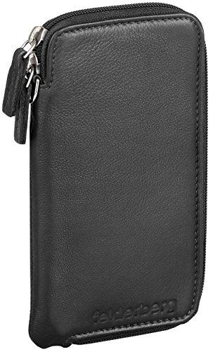 felderberg Handytasche aus feistem Echt-Leder mit Reißverschluss und Handschlaufe, für 5 Zoll Smartphones geeignet (Schwarz) (Mit Taschen 5 Reißverschluss)
