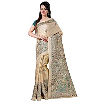 Aarvicouture Women'S Cotton Silk Ready Pleated Saree (Ac-Sr-7778_Beige)