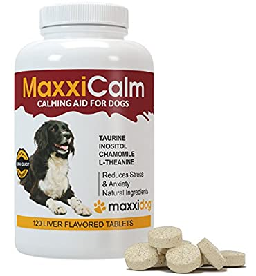 MaxxiCalm Calming Aid for Dogs with Canine Behavior Training Guide - Stress and Anxiety Relief - Non-Drowsy - 120 Tablets