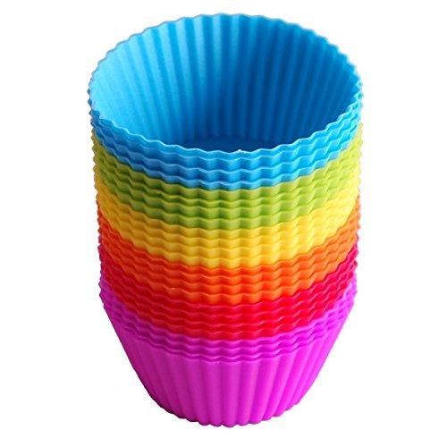 Cupcake moldes, 24unidades para horno de silicona reutilizables casos moldes para magdalenas tazas de arco iris para pasteles helados pudin