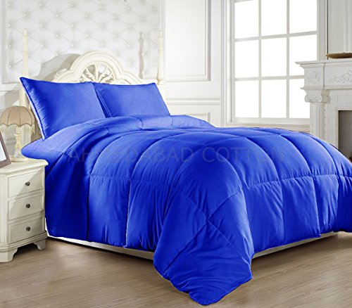 Ahmedabad Cotton Ultra-Plush Solid Microfibre Double Comforter, Royal Blue