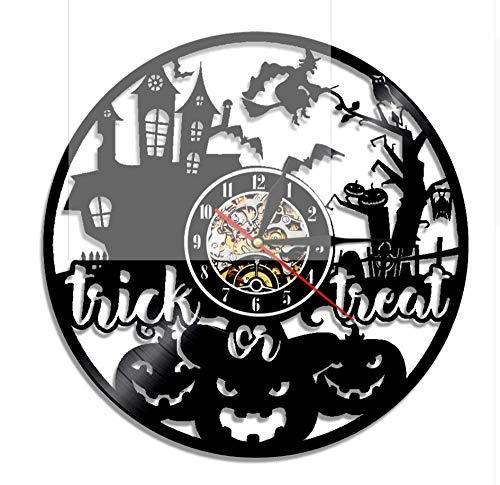 1Piece 12 Inch Trick Or Treat Scary Halloween Decor Vinyl Record Wall Clock Handmade Present Kids Room Decor with Led 12Inch